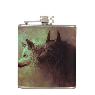 two wolves - painting wolf hip flask