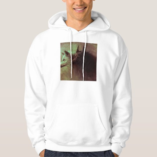 two wolves - painting wolf hoodie