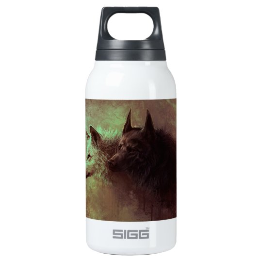 two wolves - painting wolf insulated water bottle
