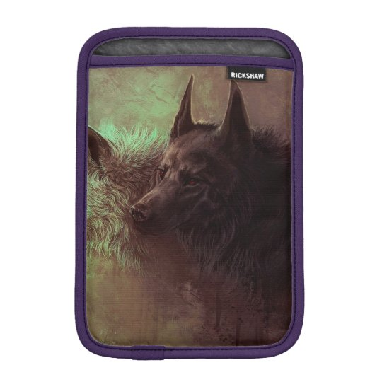 two wolves - painting wolf iPad mini sleeve