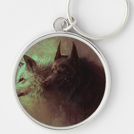 two wolves - painting wolf keychain