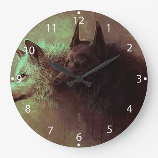 two wolves - painting wolf large clock