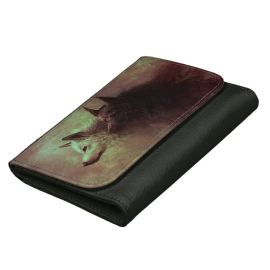 two wolves - painting wolf leather wallets