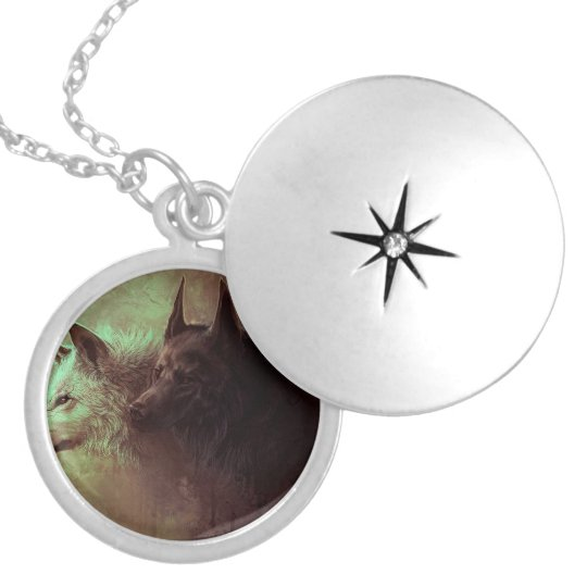 two wolves - painting wolf locket necklace