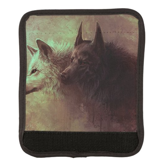 two wolves - painting wolf luggage handle wrap
