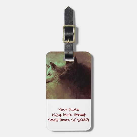 two wolves - painting wolf luggage tag
