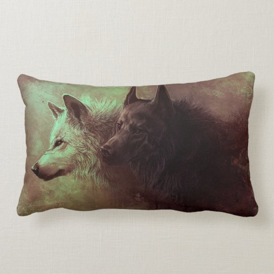 two wolves - painting wolf lumbar pillow