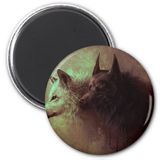 two wolves - painting wolf magnet