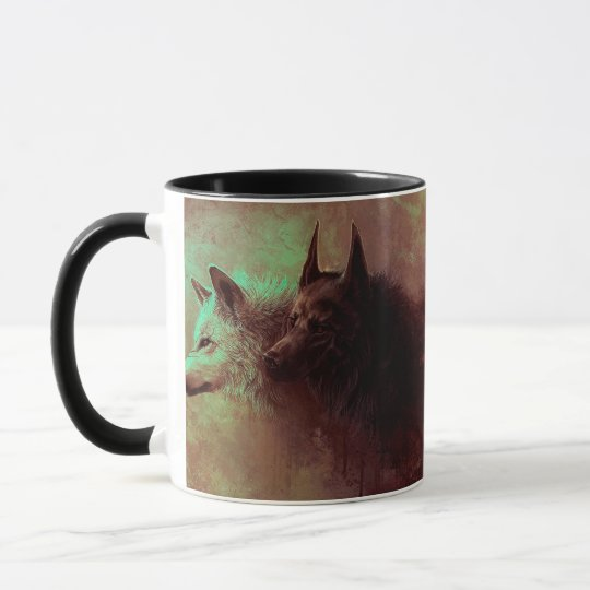 two wolves - painting wolf mug