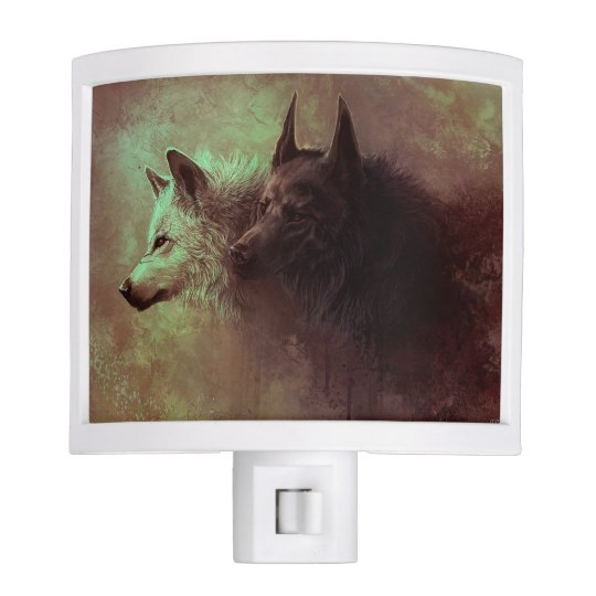 two wolves - painting wolf nite lights
