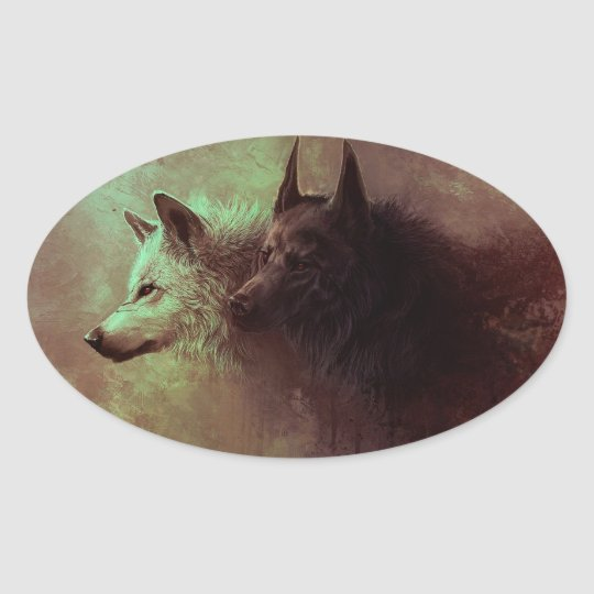 two wolves - painting wolf oval sticker