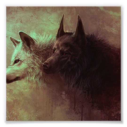 two wolves - painting wolf photo print