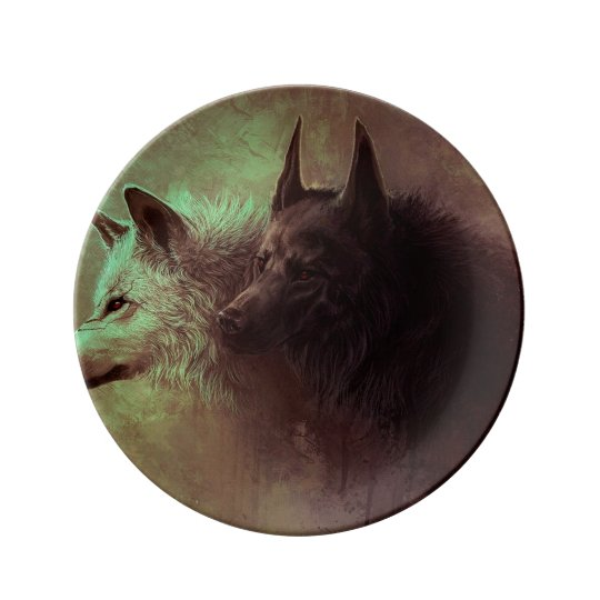 two wolves - painting wolf plate