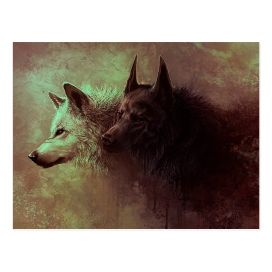 two wolves - painting wolf postcard