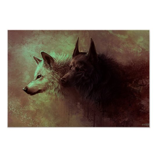 two wolves - painting wolf poster