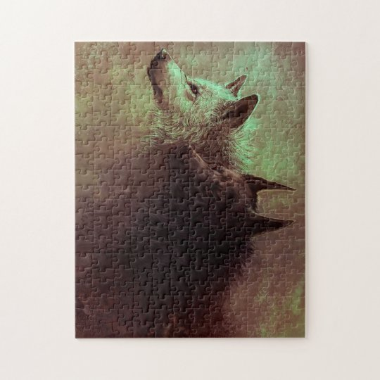 two wolves - painting wolf puzzle