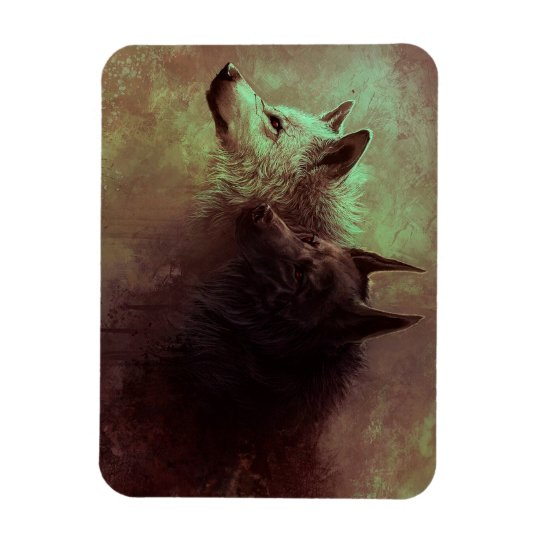 two wolves - painting wolf rectangular photo magnet