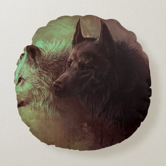 two wolves - painting wolf round pillow