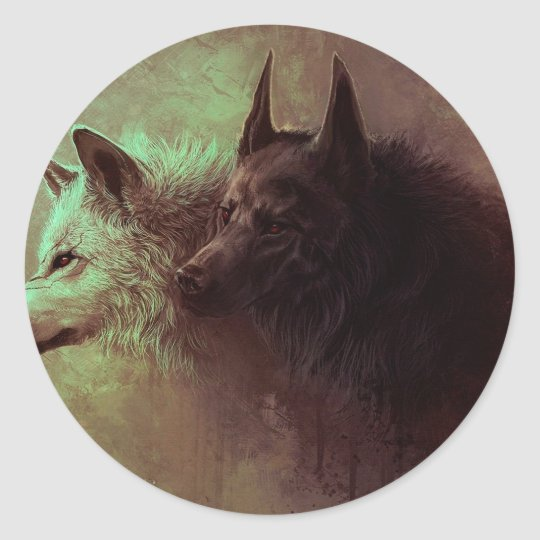 two wolves - painting wolf round sticker