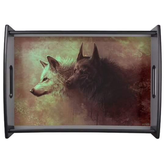 two wolves - painting wolf serving tray