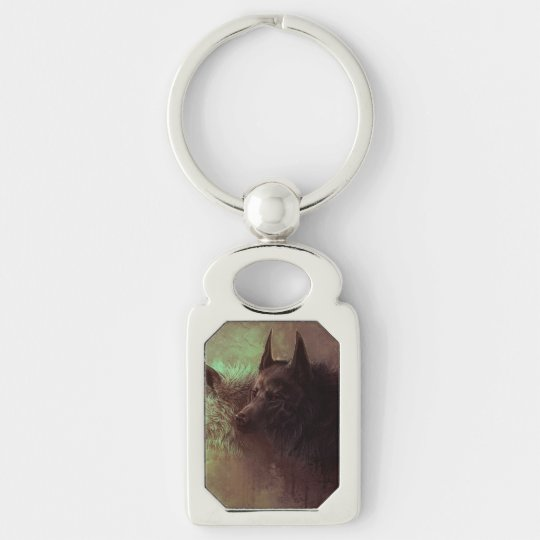 two wolves - painting wolf Silver-Colored rectangle keychain