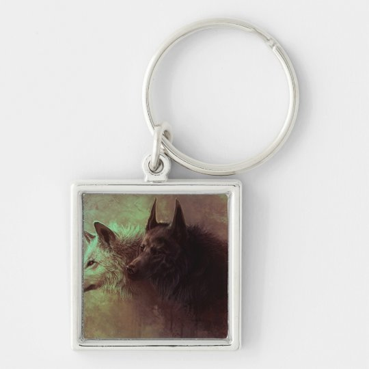 two wolves - painting wolf Silver-Colored square keychain