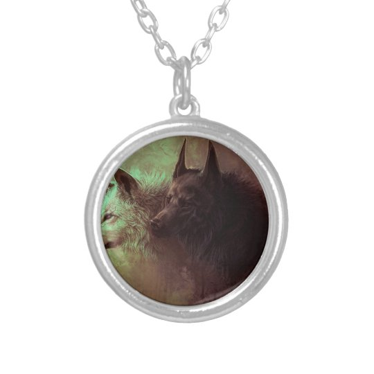 two wolves - painting wolf silver plated necklace