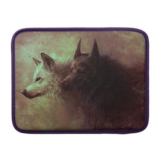 two wolves - painting wolf sleeve for MacBook air