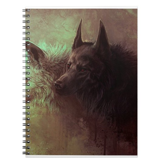 two wolves - painting wolf spiral notebook