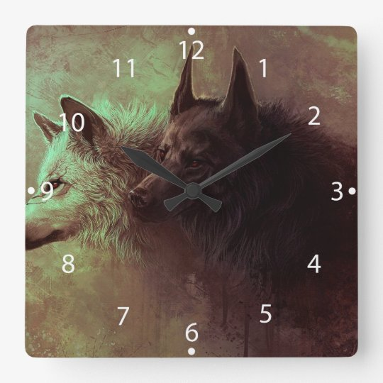two wolves - painting wolf square wall clock