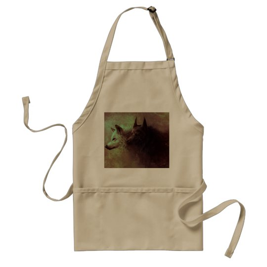 two wolves - painting wolf standard apron