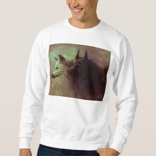 two wolves - painting wolf sweatshirt