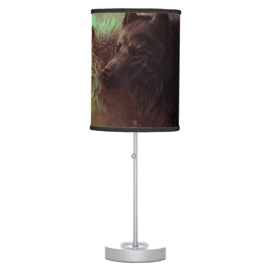 two wolves - painting wolf table lamp