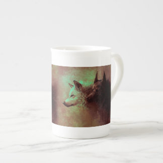 two wolves - painting wolf tea cup