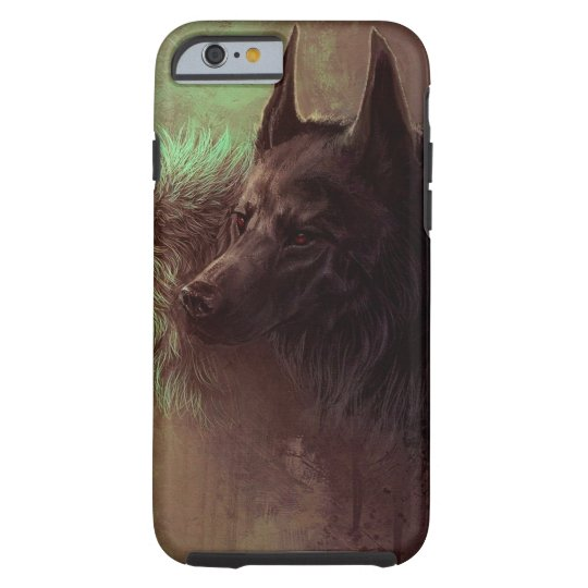 two wolves - painting wolf tough iPhone 6 case