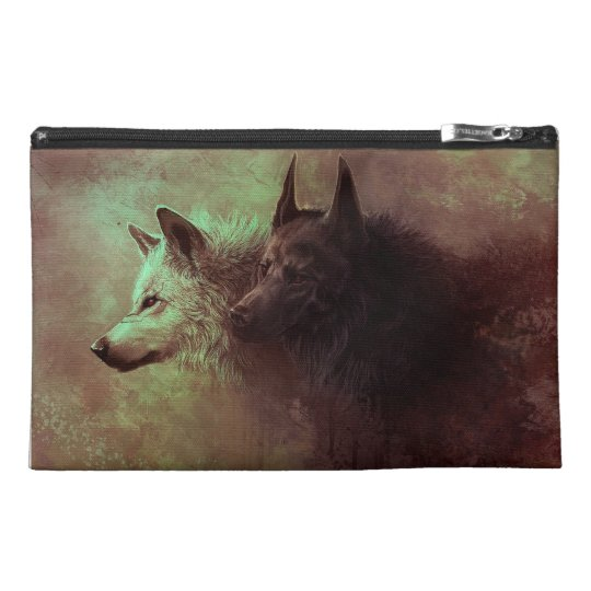 two wolves - painting wolf travel accessory bag