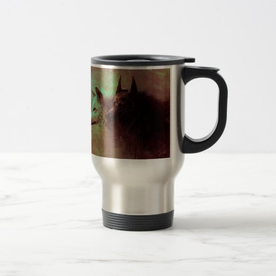two wolves - painting wolf travel mug