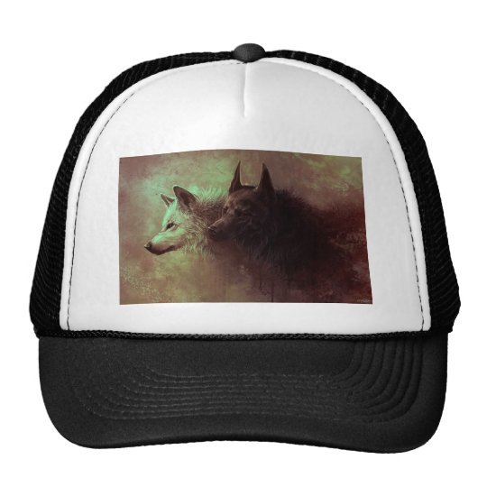 two wolves - painting wolf trucker hat