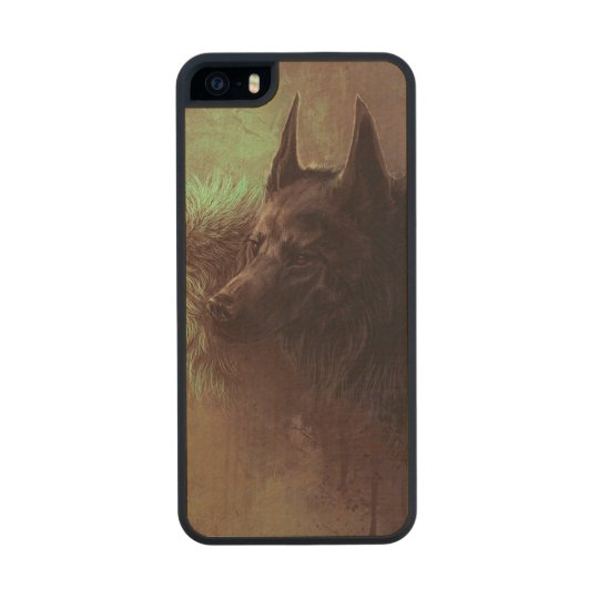two wolves - painting wolf wood iPhone SE/5/5s case