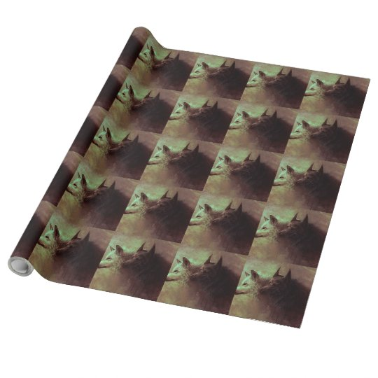 two wolves - painting wolf wrapping paper