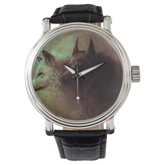 two wolves - painting wolf wrist watches