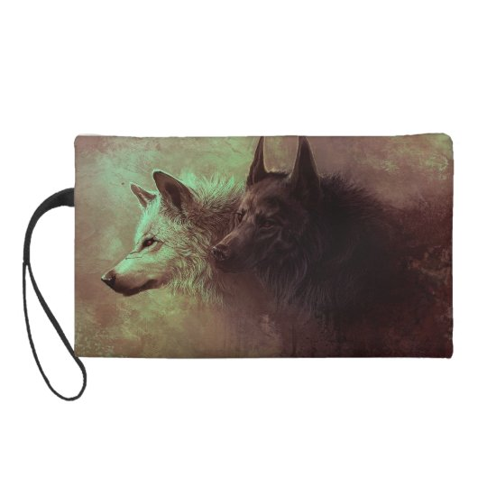 two wolves - painting wolf wristlet clutches