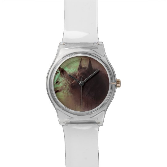 two wolves - painting wolf wristwatch