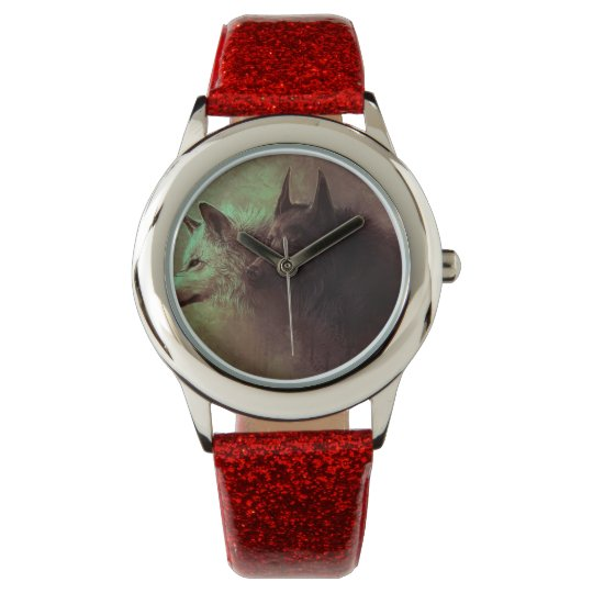 two wolves - painting wolf wristwatches