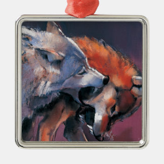 Two Wolves Silver-Colored Square Ornament