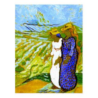 Two Women Crossing Fields Van Gogh Fine Art Postcard