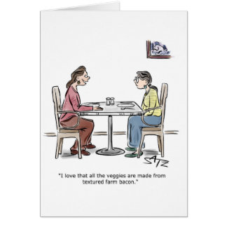 Two women eating lunch greeting card