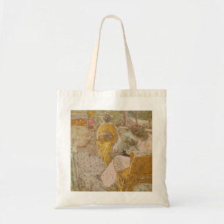 Two Women Embroidering on a Veranda Budget Tote Bag