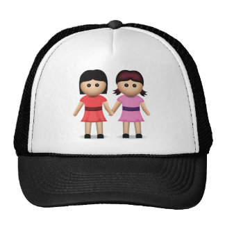 Two Women Holding Hands Emoji Trucker Hat