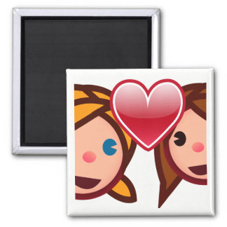 Two Women Sharing Heart Square Magnet